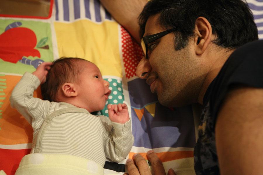 Hugo playing with papa