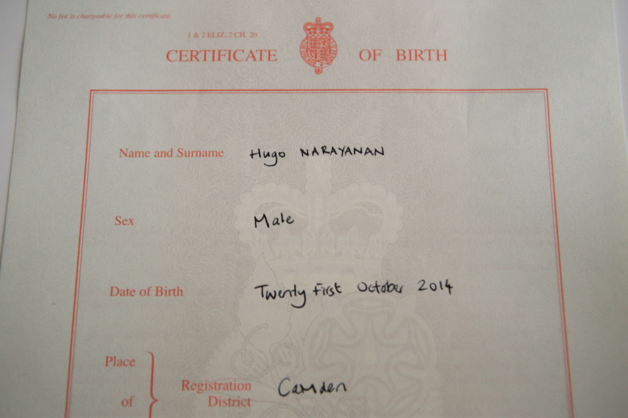 Hugo's birth certificate
