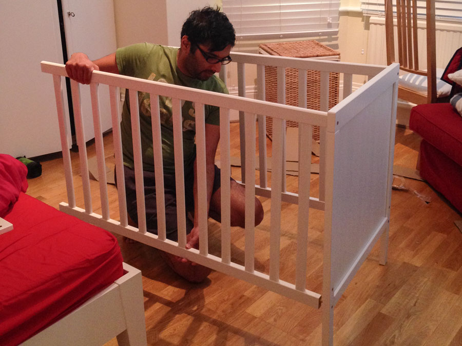Papa making the crib