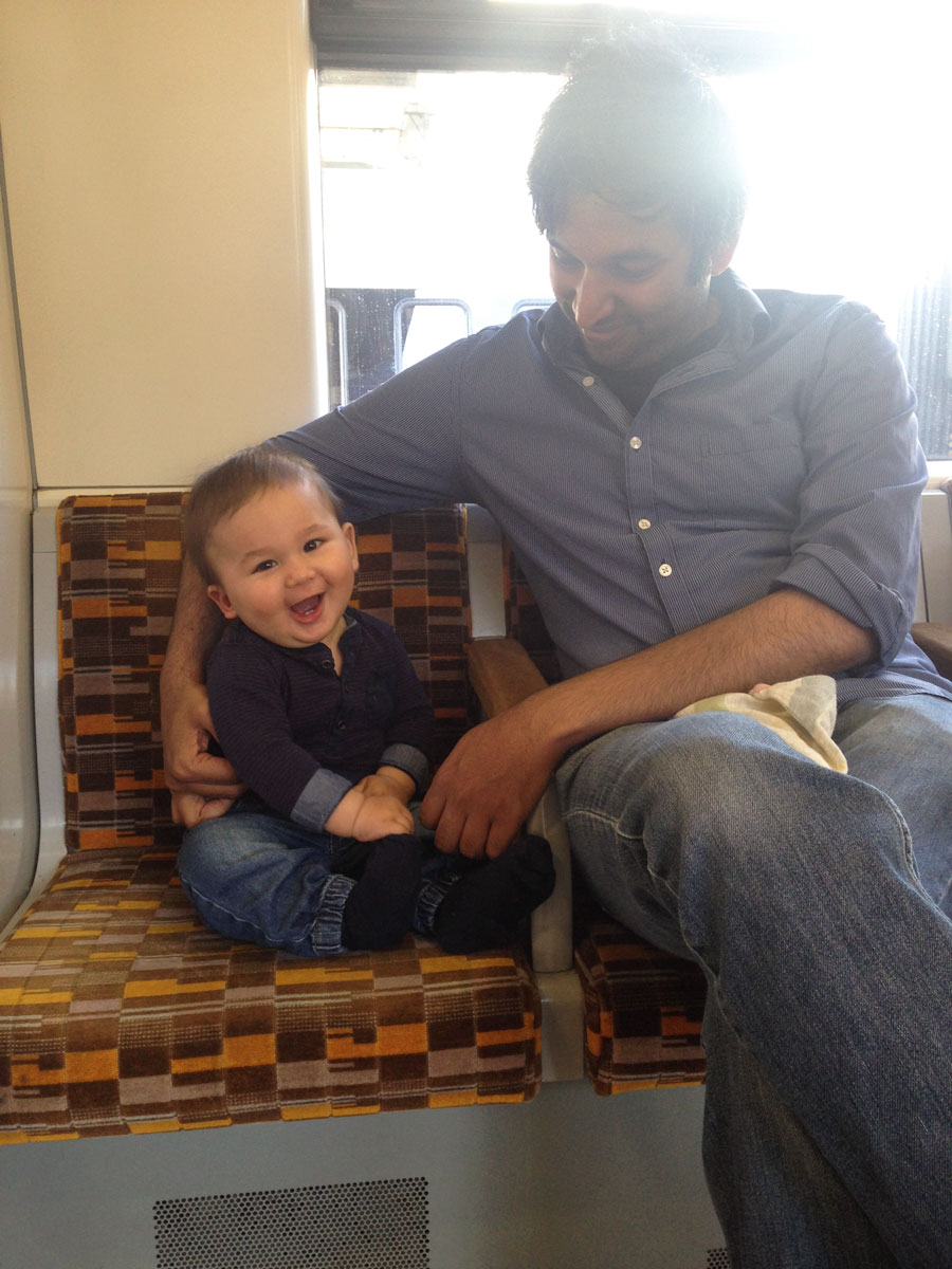 On the train with Papa